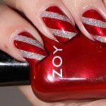 nail art Natale rosso e argento