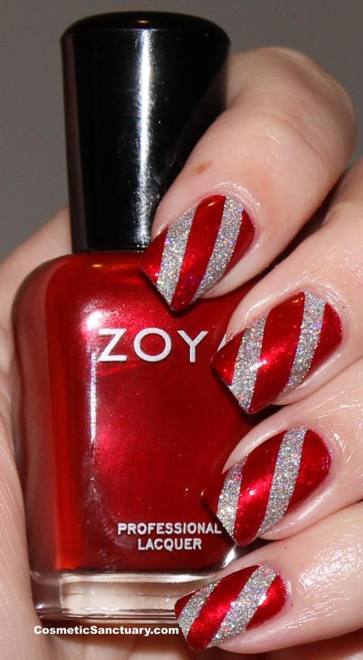 nail-art-natale-rossa-argento