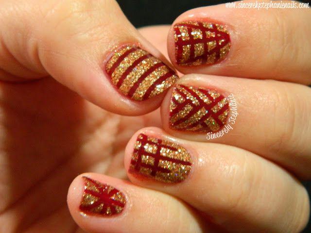 nail,art,rosso,oro