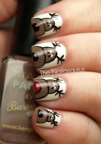 Nail Art con renne di Natale